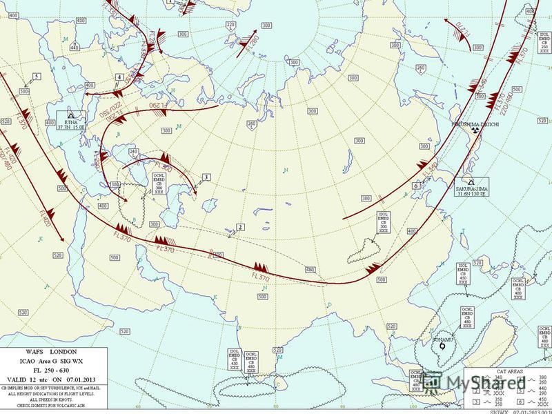 Карта особых явлений погоды (FL-250,UTC 12)