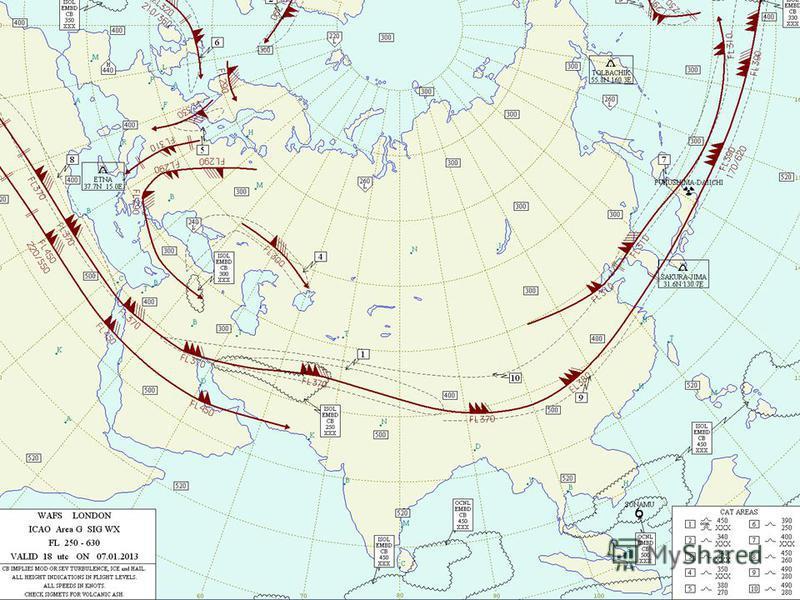 Карта особых явлений погоды (FL-250,UTC 18)