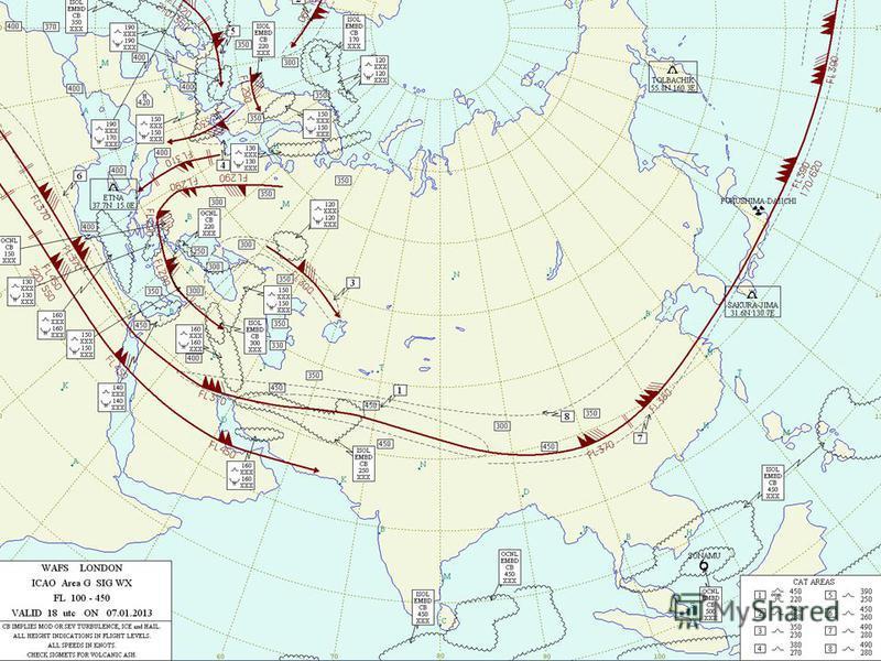 Карта особых явлений погоды (FL-100,UTC 18)