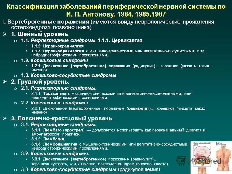 Классификация заболеваний периферической нервной системы по И. П. Антонову, 1984, 1985,1987 I. Вертеброгенные поражения (имеются ввиду неврологические проявления остеохондроза позвоночника). 1. Шейный уровень. o 1.1. Рефлекторные синдромы 1.1.1. Церв