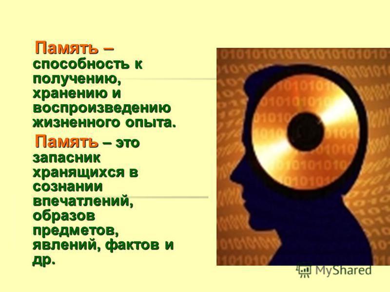 Память – способность к получению, хранению и воспроизведению жизненного опыта. Память – способность к получению, хранению и воспроизведению жизненного опыта. Память – это запасник хранящихся в сознании впечатлений, образов предметов, явлений, фактов