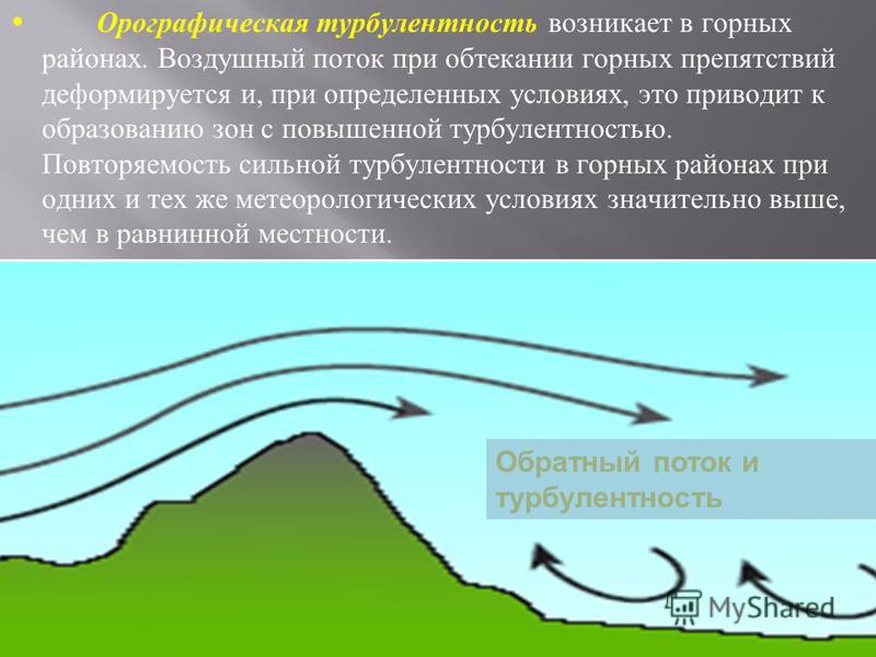 Орографическая турбулентность возникает в горных районах. Воздушный поток при обтекании горных препятствий деформируется и, при определенных условиях, это приводит к образованию зон с повышенной турбулентностью. Повторяемость сильной турбулентности в