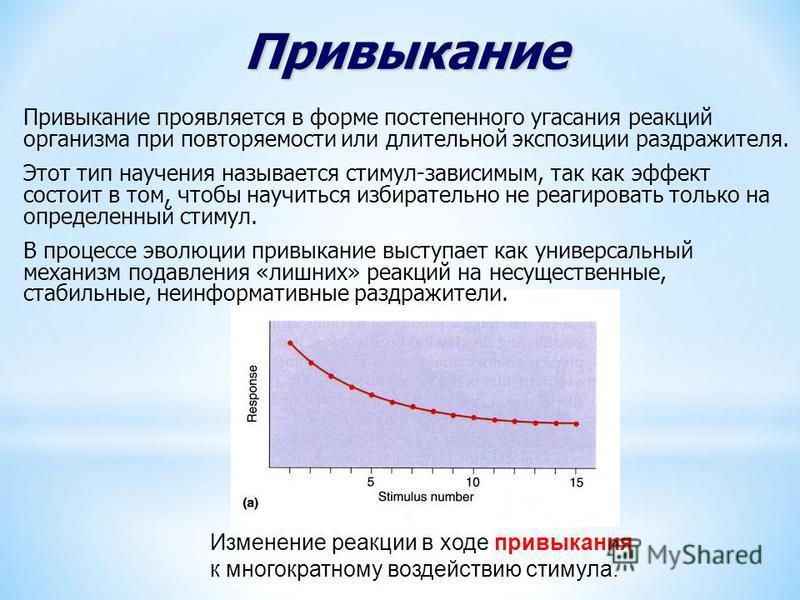 Привыкание Привыкание проявляется в форме постепенного угасания реакций организма при повторяемости или длительной экспозиции раздражителя. Этот тип научения называется стимул-зависимым, так как эффект состоит в том, чтобы научиться избирательно не р