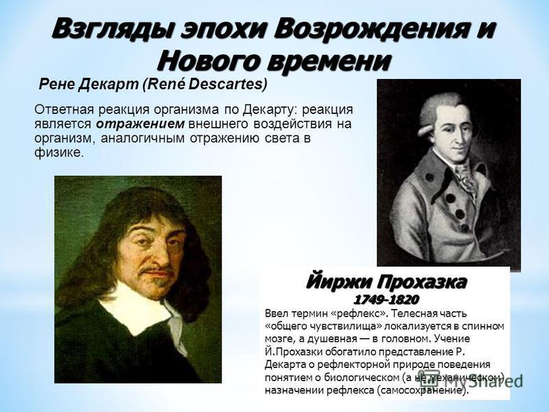 Взгляды эпохи Возрождения и Нового времени Рене Декарт (René Descartes) Ответная реакция организма по Декарту: реакция является отражением внешнего воздействия на организм, аналогичным отражению света в физике. Йиржи Прохазка 1749-1820 Ввел термин «р