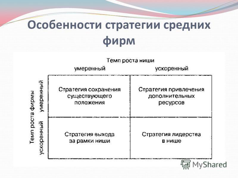 Особенности стратегии средних фирм