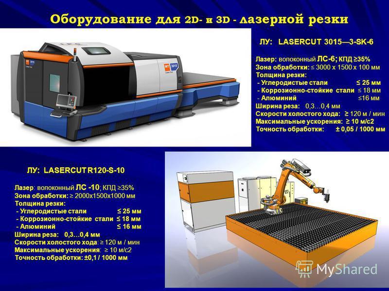 12 Оборудование для 2D- и 3D - лазерной резки ЛУ: LASERCUT R120-S-10 Лазер: волоконный ЛС -10 ; КПД 35% Зона обработки: 2000 х 1500 х 1000 мм Толщина резки: - Углеродистые стали 25 мм - Коррозионно-стойкие стали 18 мм - Алюминий 16 мм Ширина реза: 0,