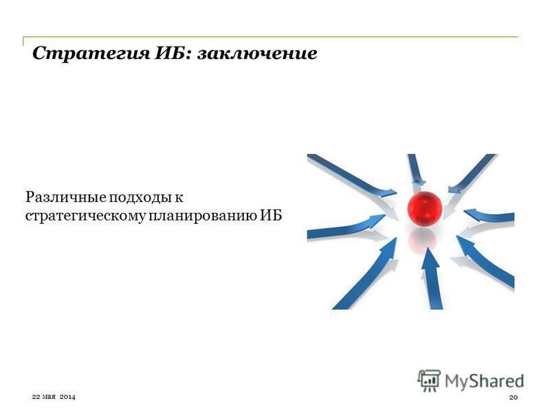 Стратегия ИБ: заключение Различные подходы к стратегическому планированию ИБ 20 22 мая 2014