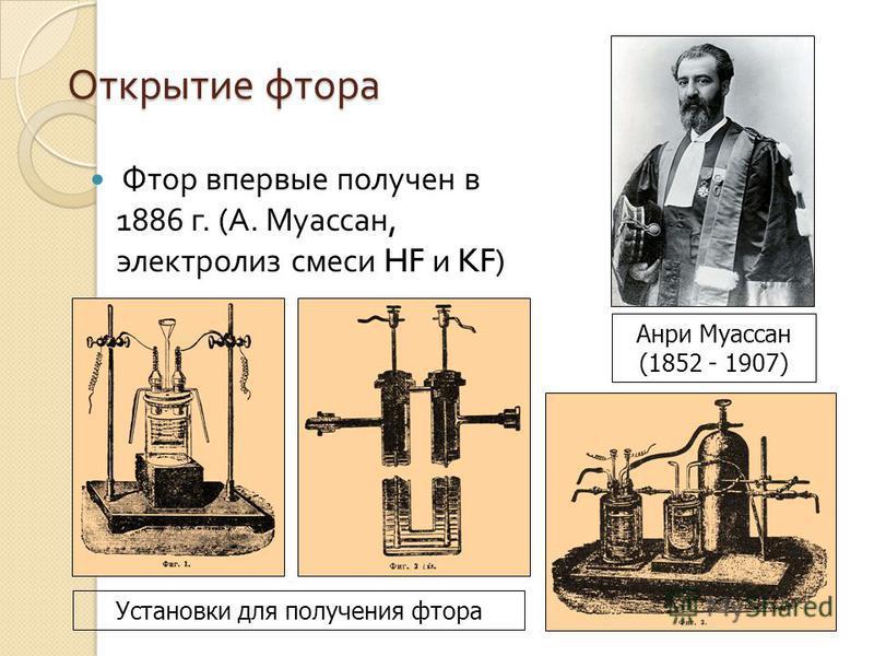 Открытие фтора Фтор впервые получен в 1886 г. ( А. Муассан, электролиз смеси HF и KF) Анри Муассан (1852 - 1907) Установки для получения фтора