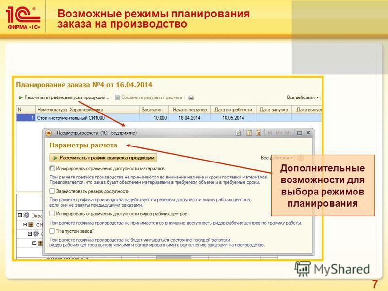 7 Возможные режимы планирования заказа на производство Дополнительные возможности для выбора режимов планирования