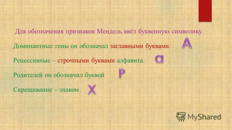 Для обозначения признаков Мендель ввёл буквенную символику. Доминантные гены он обозначал загла вными буквами. Рецессивные – строчными буквами алфа вита. Родителей он обозначил буквой Скрещивание – знаком