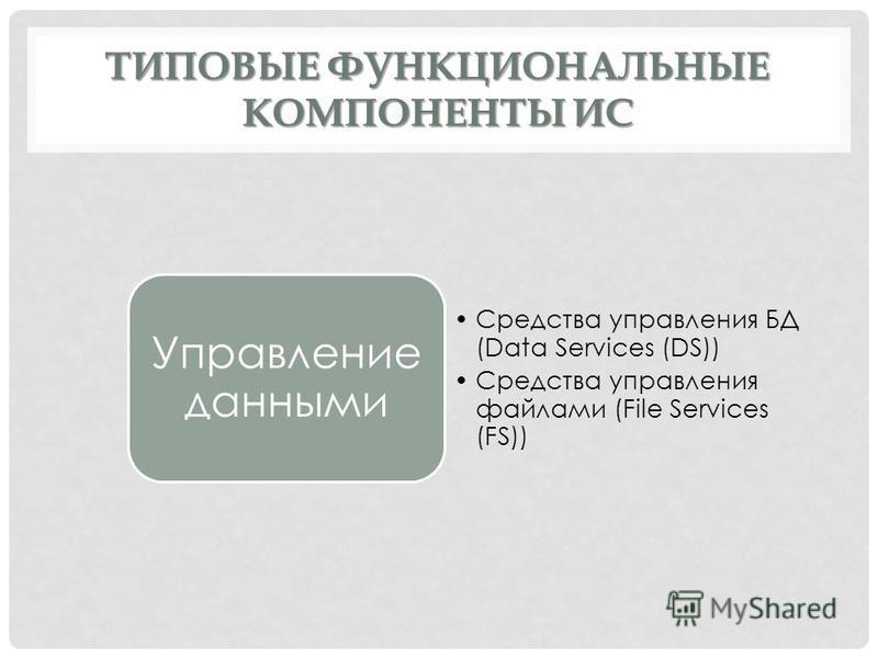 ТИПОВЫЕ ФУНКЦИОНАЛЬНЫЕ КОМПОНЕНТЫ ИС Управление данными Средства управления БД (Data Services (DS)) Средства управления файлами (File Services (FS))