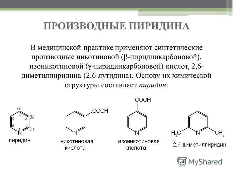 ПРОИЗВОДНЫЕ ПИРИДИНА В медицинской практике применяют синтетические производные никотиновой (β-пиридинкарбоновой), изоникотиновой (γ-пиридинкарбоновой) кислот, 2,6- диметилпиридина (2,6-лутидина). Основу их химической структуры составляет пиридин: