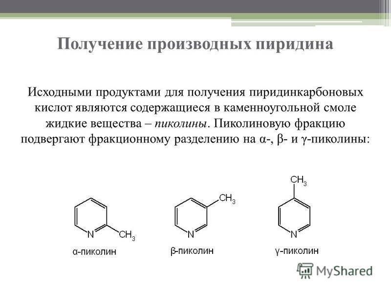 Получение производных пиридина Исходными продуктами для получения пиридинкарбоновых кислот являются содержащиеся в каменноугольной смоле жидкие вещества – пиколины. Пиколиновую фракцию подвергают фракционному разделению на α-, β- и γ-пиколины: