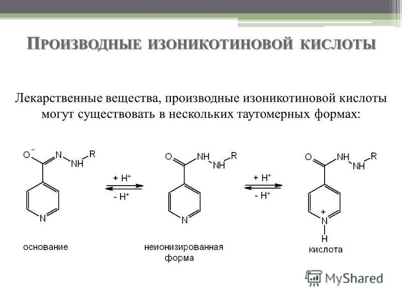 П РОИЗВОДНЫЕ ИЗОНИКОТИНОВОЙ КИСЛОТЫ Лекарственные вещества, производные изоникотиновой кислоты могут существовать в нескольких таутомерных формах: