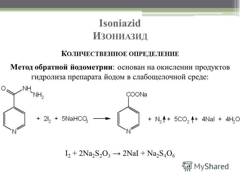 Isoniazid И ЗОНИАЗИД К ОЛИЧЕСТВЕННОЕ ОПРЕДЕЛЕНИЕ Метод обратной йодометрии: основан на окислении продуктов гидролиза препарата йодом в слабощелочной среде: I 2 + 2Na 2 S 2 O 3 2NaI + Na 2 S 4 O 6