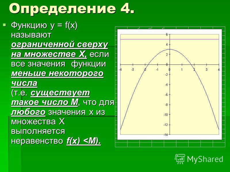 Определение 4. Функцию у = f(x) называют ограниченной сверху на множестве Х, если все значения функции меньше некоторого числа (т.е. существует такое число М, что для любого значения х из множества Х выполняется неравенство f(x)