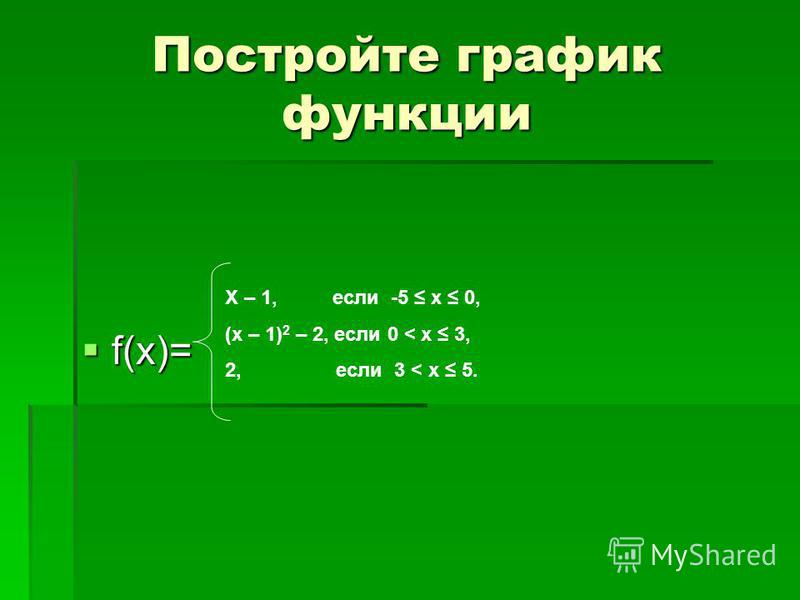 Постройте график функции f(x)= f(x)= Х – 1, если -5 x 0, (x – 1) 2 – 2, если 0 < x 3, 2, если 3 < x 5.