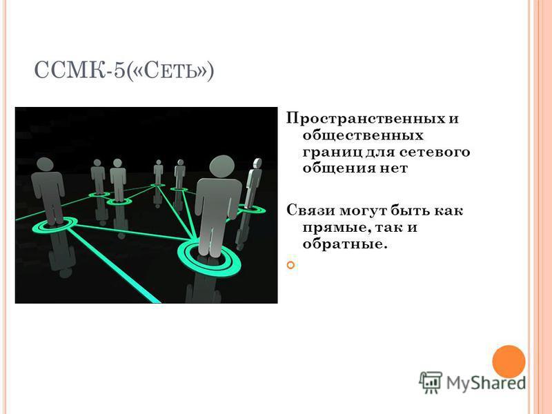 ССМК-5(«С ЕТЬ ») Пространственных и общественных границ для сетевого общения нет Связи могут быть как прямые, так и обратные.