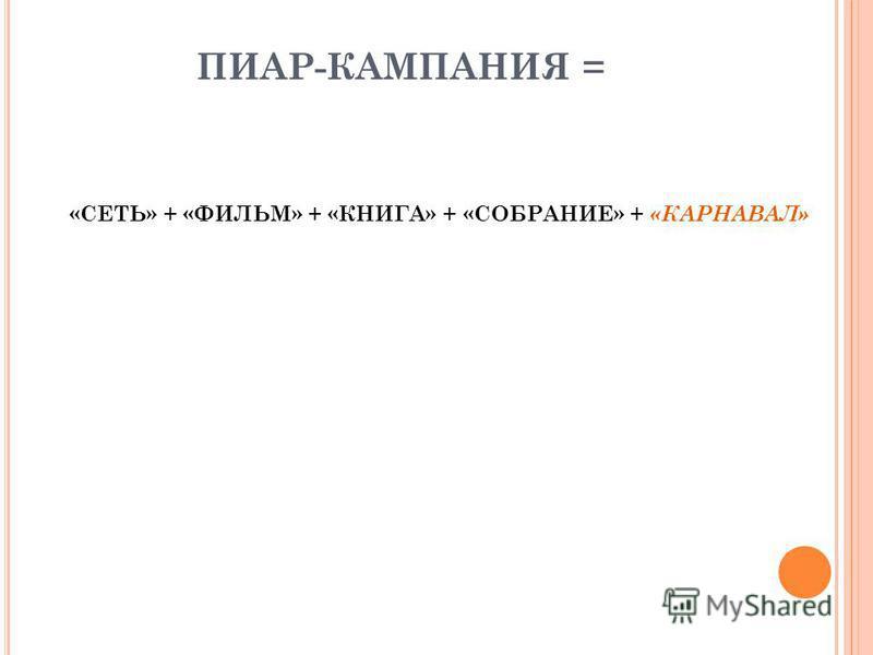 ПИАР-КАМПАНИЯ = «СЕТЬ» + «ФИЛЬМ» + «КНИГА» + «СОБРАНИЕ» + «КАРНАВАЛ»