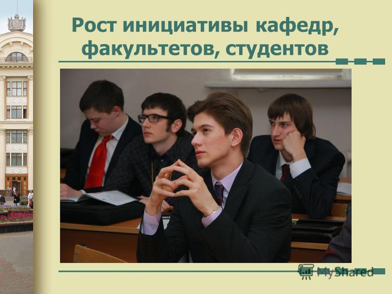 Рост инициативы кафедр, факультетов, студентов