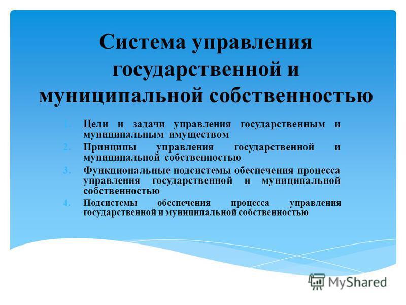 Система управления государственной и муниципальной собственностью 1. Цели и задачи управления государственным и муниципальным имуществом 2. Принципы управления государственной и муниципальной собственностью 3. Функциональные подсистемы обеспечения пр