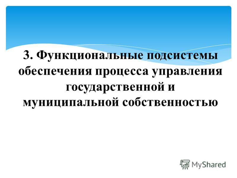 3. Функциональные подсистемы обеспечения процесса управления государственной и муниципальной собственностью