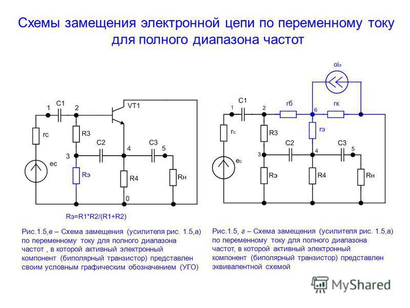 Схемы замещения электронной цепи по переменному току для полного диапазона частот Рис.1.5,в – Схема замещения (усилителя рис. 1.5,а) по переменному току для полного диапазона частот, в которой активный электронный компонент (биполярный транзистор) пр
