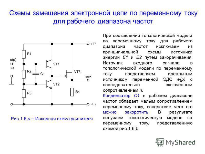 Схемы замещения электронной цепи по переменному току для рабочего диапазона частот Рис.1.6,а – Исходная схема усилителя При составлении топологической модели по переменному току для рабочего диапазона частот исключаем из принципиальной схемы источник