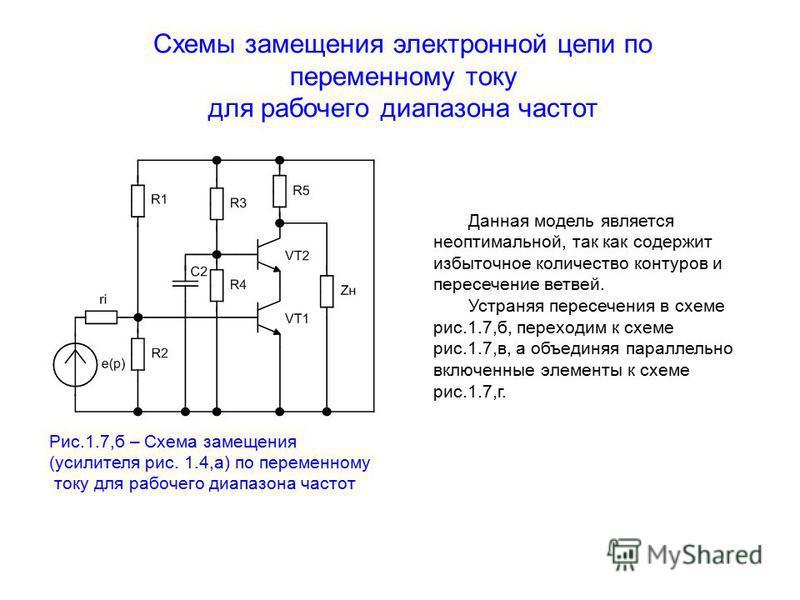 Схемы замещения электронной цепи по переменному току для рабочего диапазона частот Данная модель является неоптимальной, так как содержит избыточное количество контуров и пересечение ветвей. Устраняя пересечения в схеме рис.1.7,б, переходим к схеме р
