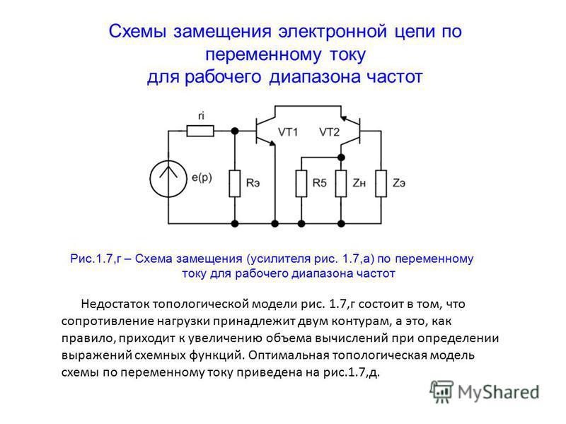 Схемы замещения электронной цепи по переменному току для рабочего диапазона частот Рис.1.7,г – Схема замещения (усилителя рис. 1.7,а) по переменному току для рабочего диапазона частот Недостаток топологической модели рис. 1.7,г состоит в том, что соп
