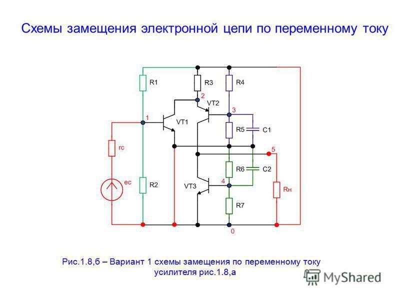 Схемы замещения электронной цепи по переменному току Рис.1.8,б – Вариант 1 схемы замещения по переменному току усилителя рис.1.8,а