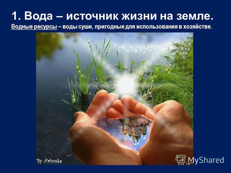 1. Вода – источник жизни на земле. Водные ресурсы – воды суши, пригодные для использования в хозяйстве.