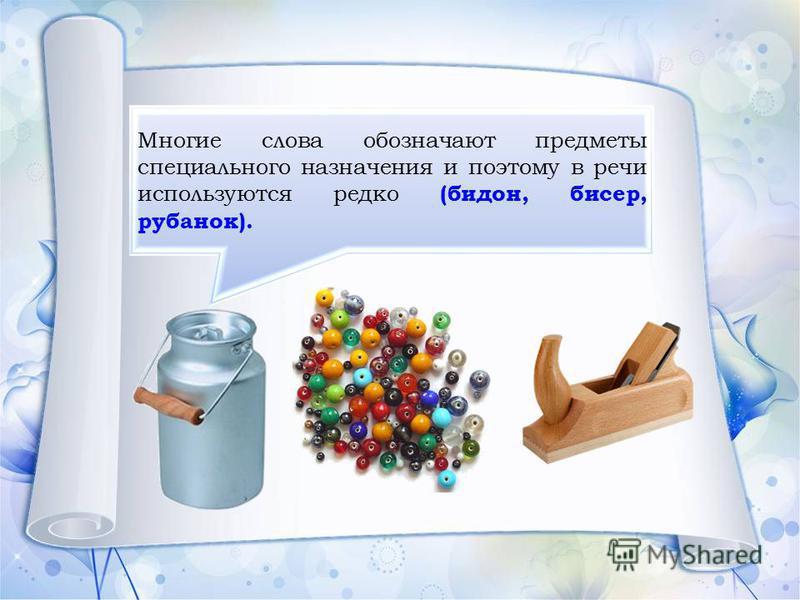 Многие слова обозначают предметы специального назначения и поэтому в речи используются редко (бидон, бисер, рубанок).