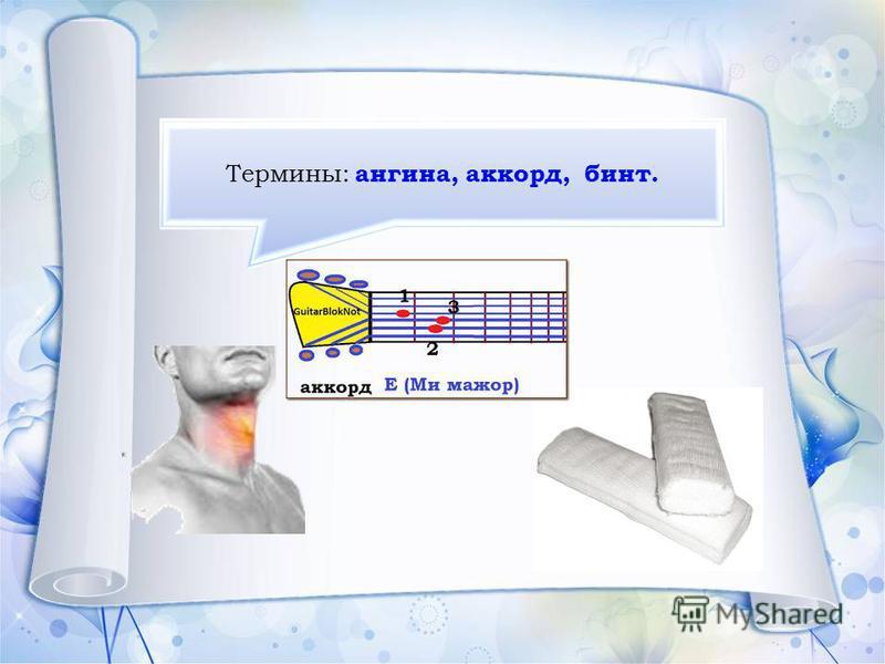 Термины: ангина, аккорд, бинт.