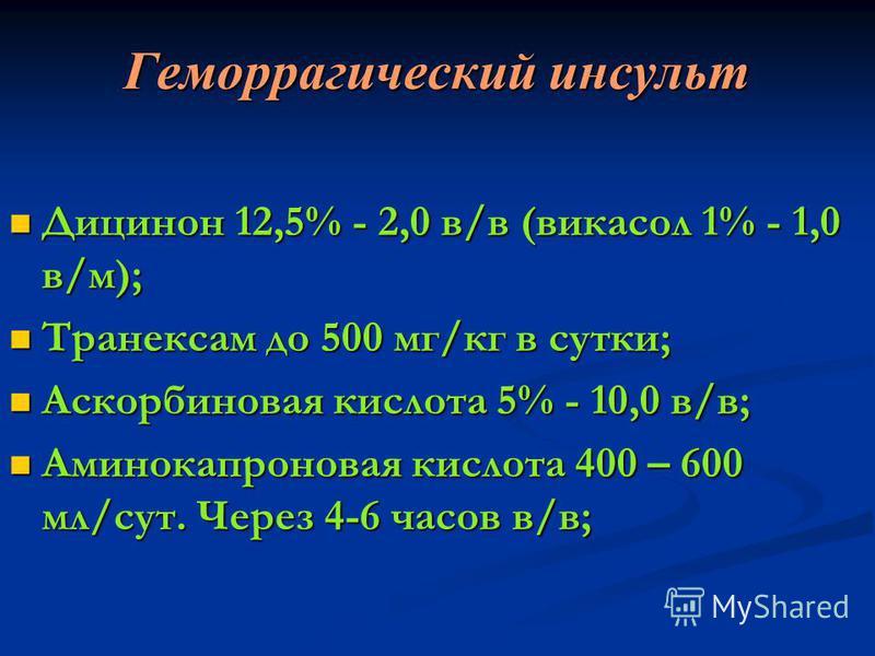Геморрагический ииинсульт Дицинон 12,5% - 2,0 в/в (викасол 1% - 1,0 в/м); Дицинон 12,5% - 2,0 в/в (викасол 1% - 1,0 в/м); Транексам до 500 мг/кг в сутки; Транексам до 500 мг/кг в сутки; Аскорбиновая кислота 5% - 10,0 в/в; Аскорбиновая кислота 5% - 10