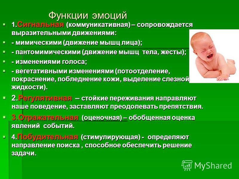 Функции эмоций 1. Сигнальная (коммуникативная) – сопровождается выразительными движениями: 1. Сигнальная (коммуникативная) – сопровождается выразительными движениями: - мимическими (движение мышц лица); - мимическими (движение мышц лица); - пантомими