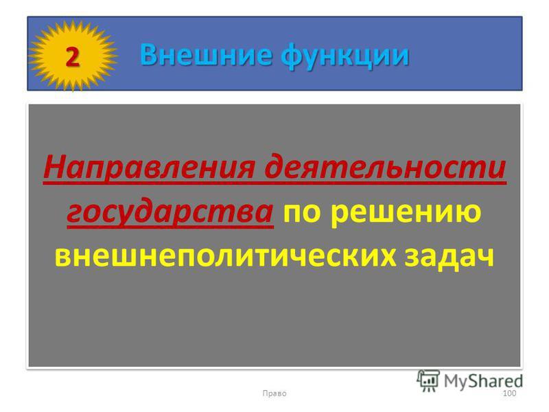 Внешние функции Направления деятельности государства по решению внешнеполитических задач Право 100 2