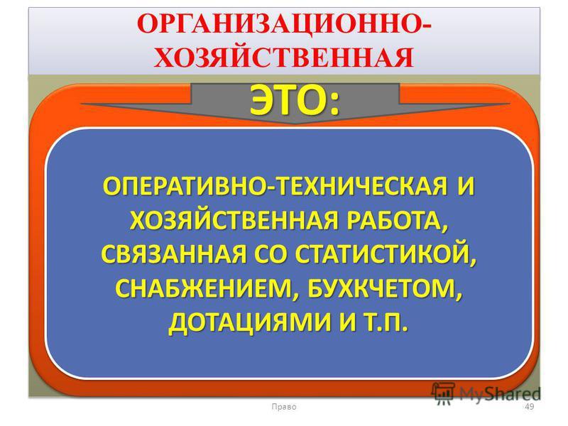 ОРГАНИЗАЦИОННО- ХОЗЯЙСТВЕННАЯ Право 49 ОПЕРАТИВНО-ТЕХНИЧЕСКАЯ И ХОЗЯЙСТВЕННАЯ РАБОТА, СВЯЗАННАЯ СО СТАТИСТИКОЙ, СНАБЖЕНИЕМ, БУХКЧЕТОМ, ДОТАЦИЯМИ И Т.П. ЭТО: