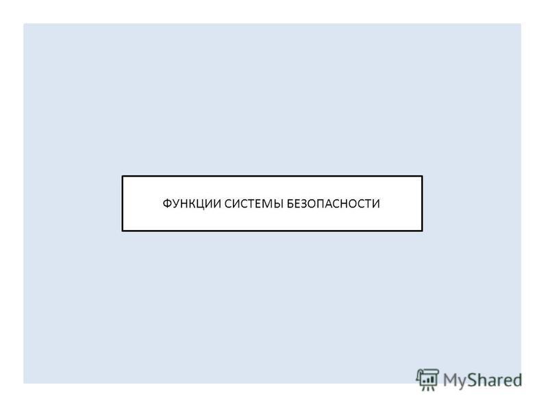 ФУНКЦИИ СИСТЕМЫ БЕЗОПАСНОСТИ