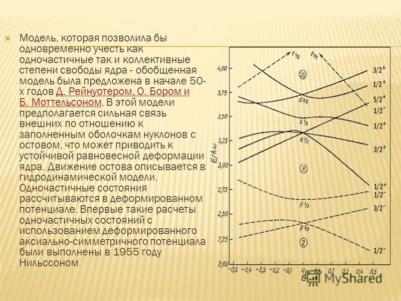 Модель, которая позволила бы одновременно учесть как одночастичные так и коллективные степени свободы ядра - обобщенная модель была предложена в начале 50- х годов Д. Рейнуотером, О. Бором и Б. Моттельсоном. В этой модели предполагается сильная связь
