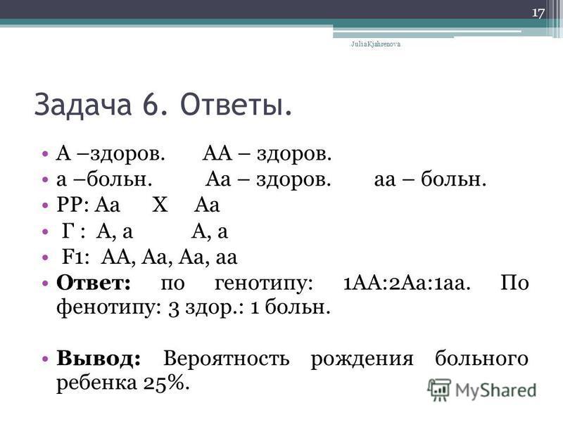 Задача 6. Ответы. А –здоров. АА – здоров. а –больн. Аа – здоров. а – больн. PP: Аа Х Аа Г : А, а А, а F1: AA, Aa, Aa, aa Ответ: по генотипу: 1АА:2Аа:1 а. По фенотипу: 3 здор.: 1 больн. Вывод: Вероятность рождения больного ребенка 25%. Julia Kjahrenov