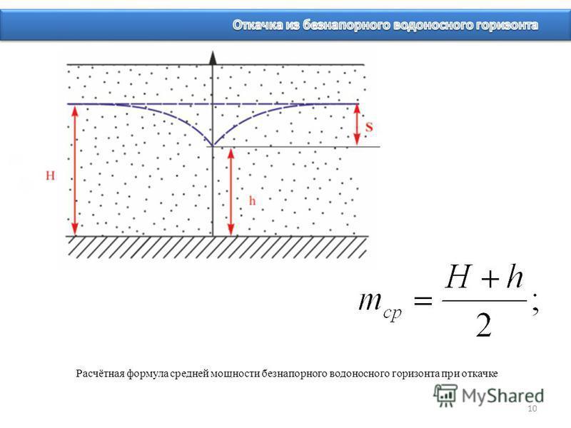 Расчётная формула средней мощности безнапорного водоносного горизонта при откачке 10