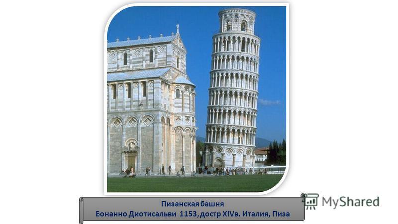 Пизанская башня Бонанно Диотисальви 1153, до стр XIVв. Италия, Пиза