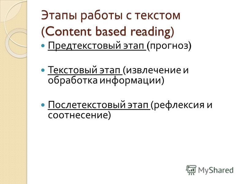 Этапы работы с текстом (Content based reading) Предтекстовый этап ( прогноз ) Текстовый этап ( извлечение и обработка информации ) Послетекстовый этап ( рефлексия и соотнесение )