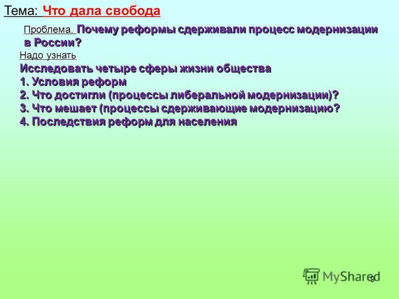 9 Тема: Что дала свобода Проблема. Почему реформы сдерживали процесс модернизации в России? Надо узнать Исследовать четыре сферы жизни общества 1. Условия реформ 2. Что достигли (процессы либеральной модернизации)? 3. Что мешает (процессы сдерживающи