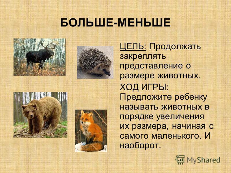 БОЛЬШЕ-МЕНЬШЕ ЦЕЛЬ: Продолжать закреплять представление о размере животных. ХОД ИГРЫ: Предложите ребенку называть животных в порядке увеличения их размера, начиная с самого маленького. И наоборот.