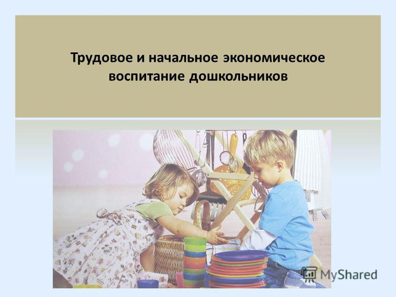 Трудовое и начальное экономическое воспитание дошкольников