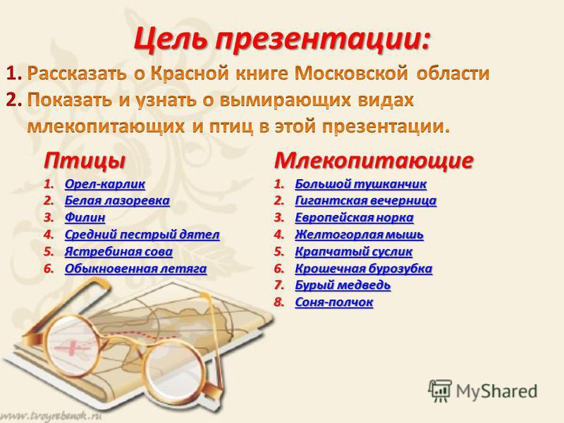 Цель презентации: Млекопитающие 1. Большой тушканчик Большой тушканчик Большой тушканчик 2. Гигантская вечерница Гигантская вечерница Гигантская вечерница 3. Европейская норка Европейская норка Европейская норка 4. Желтогорлая мышь Желтогорлая мышь Ж