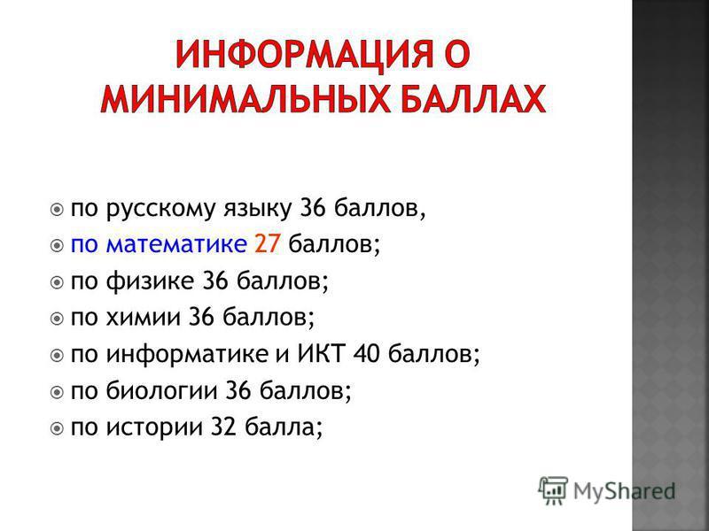 по русскому языку 36 баллов, по математике 27 баллов; по физике 36 баллов; по химии 36 баллов; по информатике и ИКТ 40 баллов; по биологии 36 баллов; по истории 32 балла;