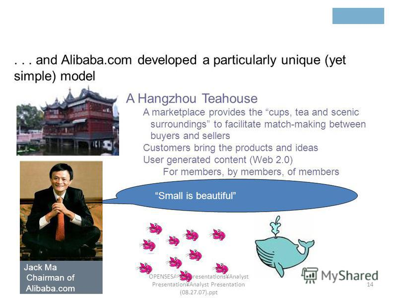 201536813 201536813 201536813 201536813 201536813 OPENSESAME\Presentations\Analyst Presentation\Analyst Presentation (08.27.07).ppt 14 A Hangzhou Teahouse A marketplace provides the cups, tea and scenic surroundings to facilitate match-making between